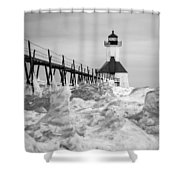 St. Joseph Lighthouse In Ice Field Shower Curtain