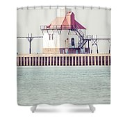 St. Joseph Lighthouse Vertical Panorama Photo Shower Curtain