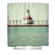 St. Joseph Lighthouse Vintage Picture  Shower Curtain