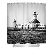 St. Joseph Lighthouses Black And White Picture  Shower Curtain