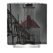 St. Joseph North Pier Lighthouse Lake Michigan Shower Curtain