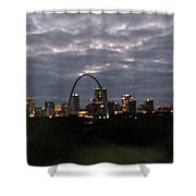 St. Louis Arch At Dusk From The Train Shower Curtain