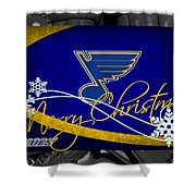 St Louis Blues Christmas Shower Curtain