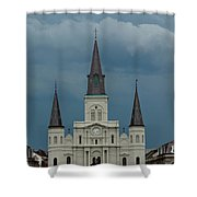 St Louis Cathedral Under Storm Clouds Shower Curtain