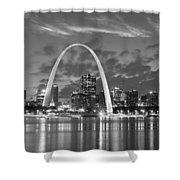 St. Louis Skyline At Dusk Gateway Arch Black And White Bw Panorama Missouri Shower Curtain