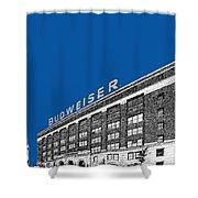 St Louis Skyline Budweiser Brewery - Royal Blue Shower Curtain by DB Artist