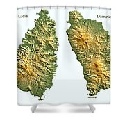 St Lucia And Dominica Map Shower Curtain
