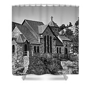 St Malo Chapel On The Rock Colorado Bw Shower Curtain