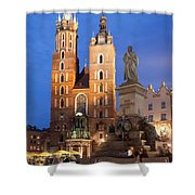 St Mary Basilica And Adam Mickiewicz Monument At Night In Krakow Shower Curtain