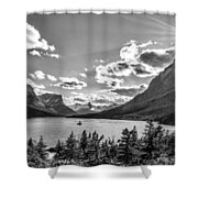 St. Mary Lake Bw Shower Curtain