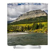 St. Mary River And East Flattop Mountain Shower Curtain