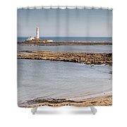 St Marys Lighthouse Across Sandy Bay Shower Curtain