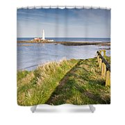 St Marys Lighthouse From Cliff Top Shower Curtain