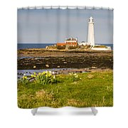 St Marys Lighthouse With Daffodils Shower Curtain