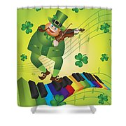 St Patricks Day Leprechaun Dancing On Piano Keyboard Shower Curtain