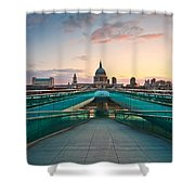 St. Paul's Cathedral And Millennium Bridge In London Shower Curtain