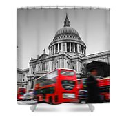 St Pauls Cathedral In London Uk Red Buses In Motion Shower Curtain