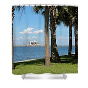 St Pete Pier Through Palm Trees Shower Curtain
