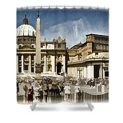 St Peters Square - Vatican Shower Curtain by Jon Berghoff
