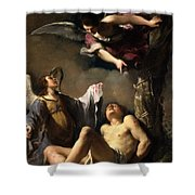 St. Sebastian Succoured By Two Angels Shower Curtain