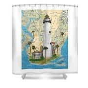 St Simons Lighthouse Ga Nautical Chart Map Art Cathy Peek Shower Curtain
