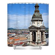 St Stephen's Basilica Bell Tower In Budapest Shower Curtain