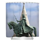 St Stephen's Statue In Budapest Shower Curtain