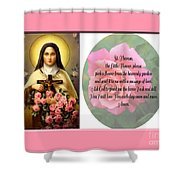 St. Theresa Prayer With Pink Border Shower Curtain