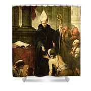 St. Thomas Of Villanueva Distributing Alms, 1678 Oil On Canvas Shower Curtain