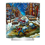 St Urbain Street Boys Playing Hockey Shower Curtain