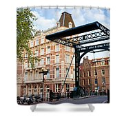 Staalstraat Bridge On Kloveniersburgwal Canal In Amsterdam Shower Curtain