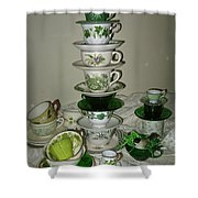 Stack Of Green Teacups  Shower Curtain