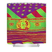 Stack Of Money On American Flag Pop Art Shower Curtain
