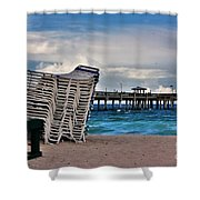 Stacked Beach Chairs Shower Curtain