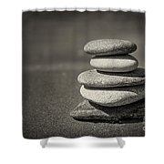 Stacked Pebbles On Beach Shower Curtain by Elena Elisseeva