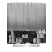Stacked Round Hay Bales Bw Panorama Shower Curtain