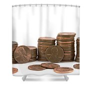 Stacks Of American Pennies White Background Shower Curtain