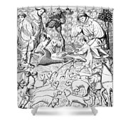 Stag Hunters, 15th Century Shower Curtain