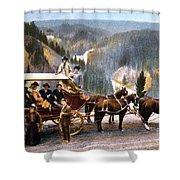 Stagecoach Near Upper Falls Shower Curtain