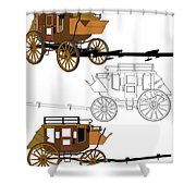 Stagecoach Without Horses - Color Sketch Drawing Shower Curtain