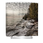 Staggering Shores Shower Curtain
