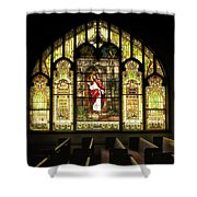 Stain Glass Behold I Stand At The Door And Knock Shower Curtain