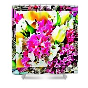 Stain Glass Framed Florals Shower Curtain