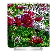 Stained Glass Chrysanthemum Flowers Shower Curtain