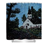 Stained Glass Church Scene Shower Curtain