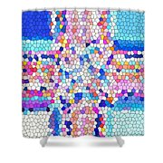Stained Glass Colorful Cross Shower Curtain
