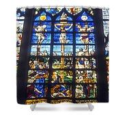 Stained Glass Crucifixion Shower Curtain