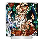 Stained Glass Ganapati Shower Curtain