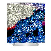 Stained Glass Leopard 1 Shower Curtain