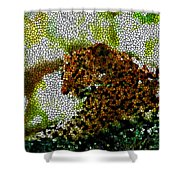Stained Glass Leopard 2 Shower Curtain